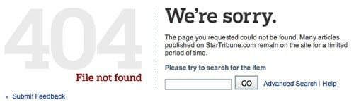 404 error page customised with search bar