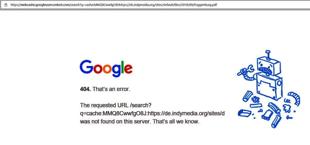 A web page of the 404 error