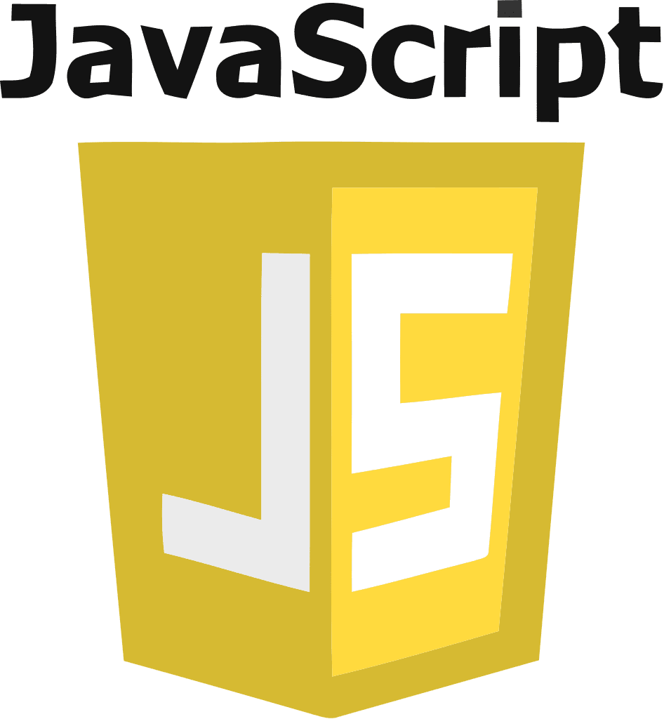 JavaScript logo with white text and yellow background