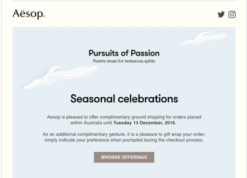 Aesop's email marketing campaign for seasonal celebrations