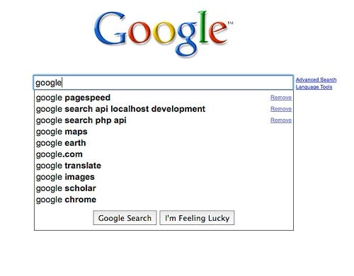 """Google search page where """"Google"""" is typed"""