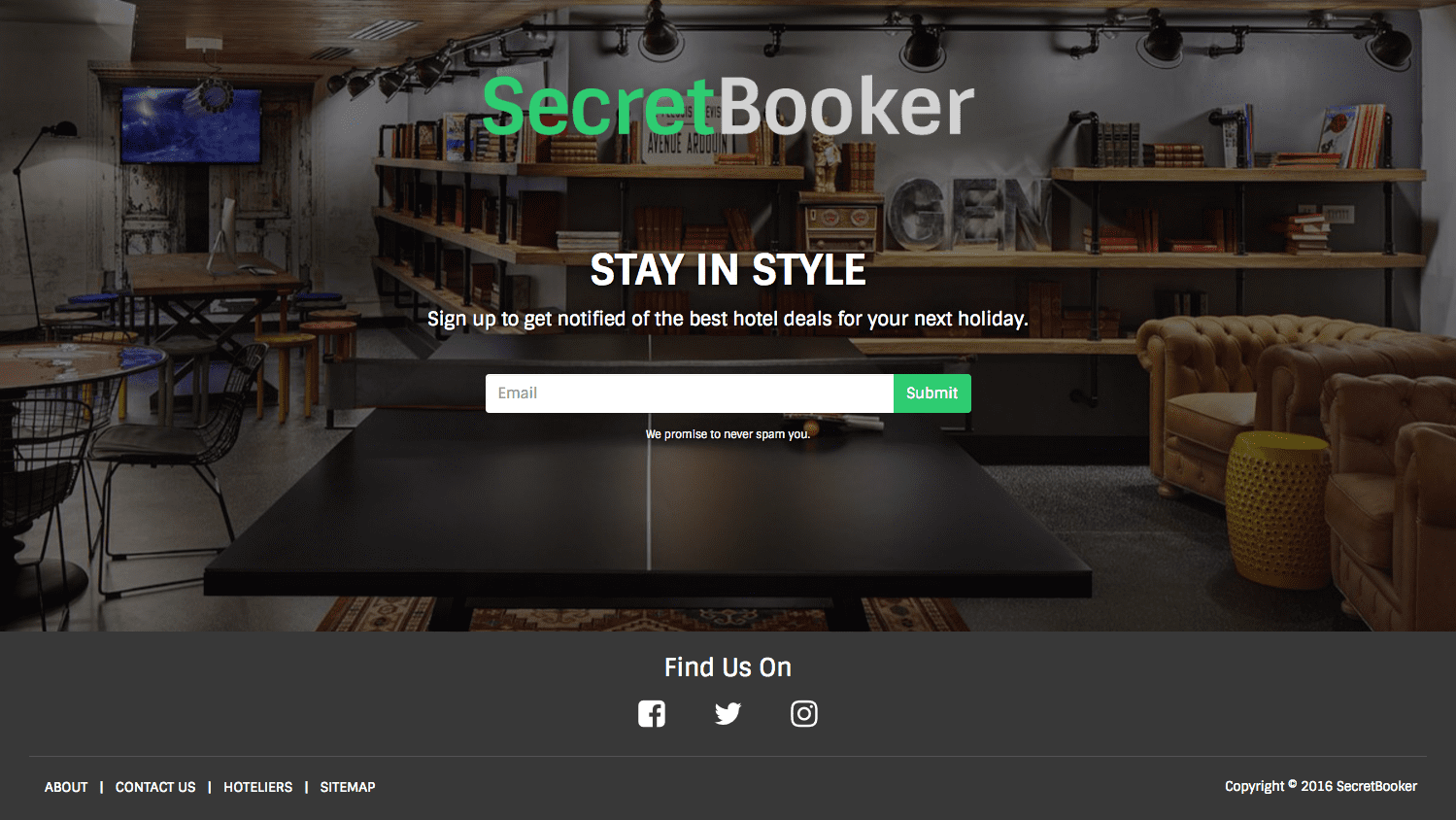 landing page for 'SecretBooker'