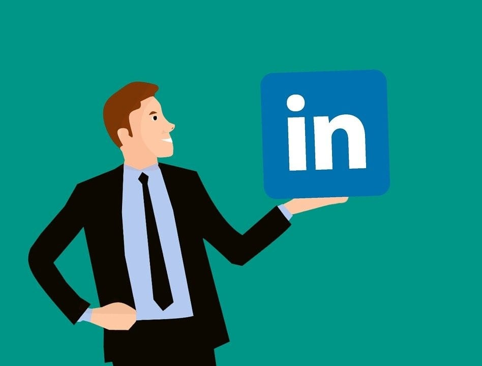 Man with LinkedIn's icon